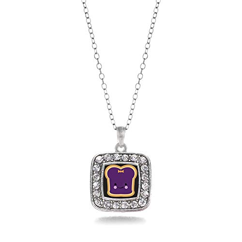 Inspired Silver - Jelly Charm Necklace for Women - Silver Square Charm 18 Inch Necklace with Cubic Zirconia Jewelry