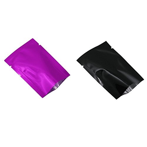 100Pcs Purple and 100Pcs Black Mylar Foil Open Top Sealable Bag Aluminum Foil Vacuum Heat Seal Pouch for Food Grade Storage Bag Candy Packaging Cosmetic Sample with Tear Notch (6x9cm(2.4x3.5 inch) (Cosmetic Sample Packaging)