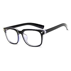 LOMOL Girls Retro Lovely Personality Student Style Transparent Lens Wayfarer Frame Glasses(C2)