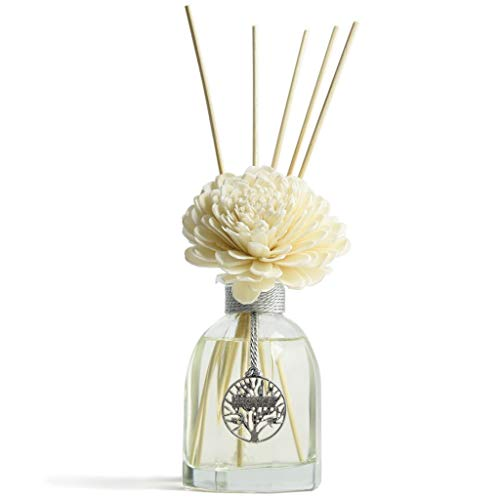 (Aronica [4th of July Sale with Coupon] Octagon Flower and Reed Diffuser 4.4oz/130 ml - White Rose)