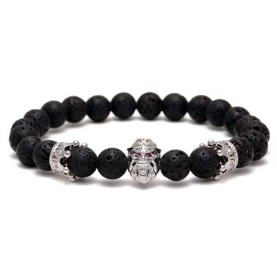 (Charms & Hero of Sparta Stone Tiger Eyes Beads Stone Bracelet Knight Helmet Volcanic Lava Stone & Crown Zircon Bracelets)