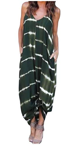 Baggy Women Stripes Sexy Big Green Printed Army Pockets Pendulum Dress Howme Sleeveless 8qwd8B