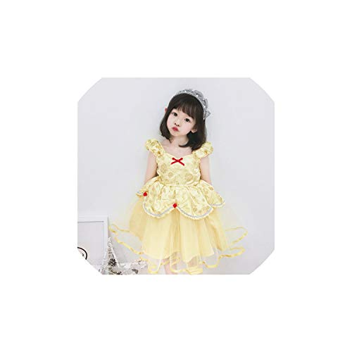 Girl Costume Belle Princess Party Short Sleeve Tutu