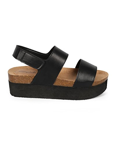 Breckelles CF15 Women Leatherette Open Toe Double Band Flatform Creeper Slingback Sandal - Black (Size: 7.0)