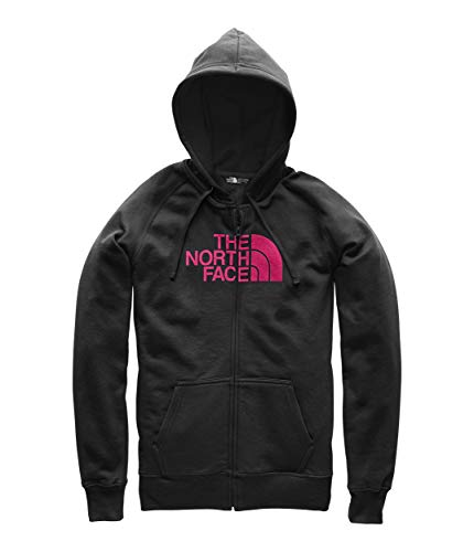 (The North Face Women's 1/2 Dome Full Zip Hoodie TNF Black/Cerise Pink Medium)