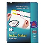Index Maker Divider W/multicolor Tabs, 5-Tab, Letter, 25 Sets/box By: Avery