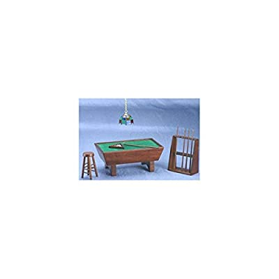Dollhouse Miniature Mahogany Pool Table Set 24pc: Toys & Games [5Bkhe0301210]