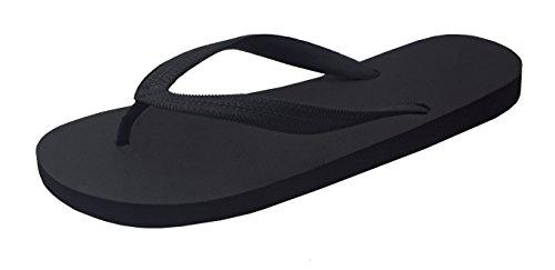 Feisco Men's Rubber Flip Flops Thong Sandal Beach Slipper (11 D(M) US, Black) ()
