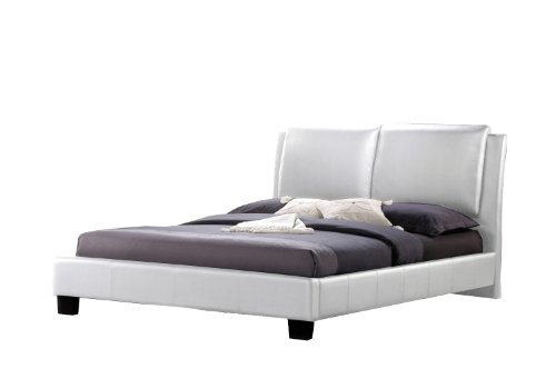 Baxton Studio Sabrina Modern Bed with Overstuffed Headboard, Full, White