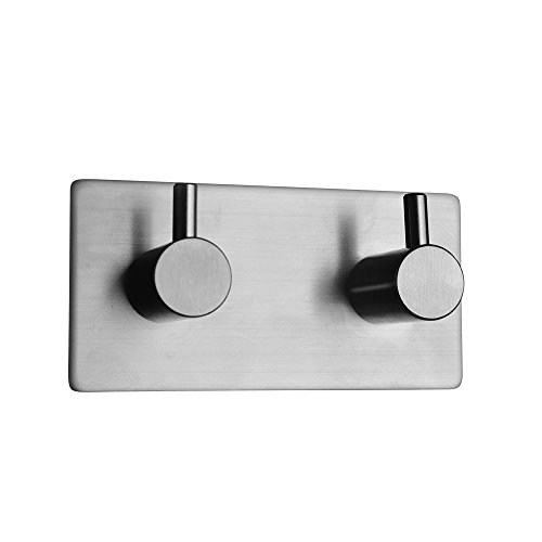 3M Self Adhesive Hook Stick on Wall Sus 304 Stainless Steel Polished Hanging Clothes Coat Hat Hooks And Strong Heavy Duty Metal Super Power Hooks Storage Organizer (2-Hook)
