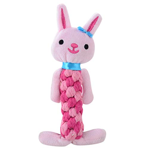 wouke Plush Dog Toys, Puppy Animal Shaped Dogs Rope Teeth Chew Squeaky Sound Stuffed Toy for Small Dog and Cat