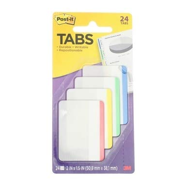 3M 686F-1 2 X 1.5 Post-It Durable Filing Tabs Assorted Colors 4 Ct