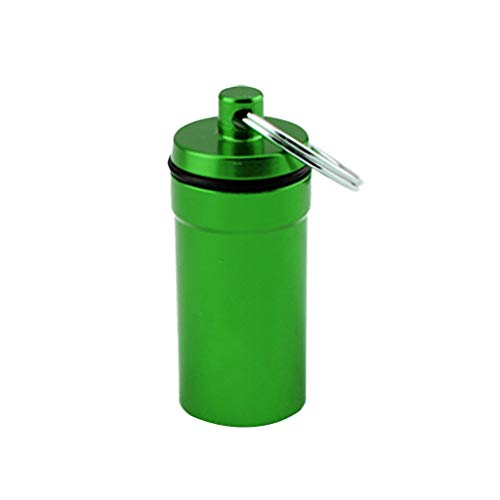 NATFUR Seal Pill Box Case Holder Container Capsule Bottle Keychain Green Elegant for Women for Girls for Gift Pretty Beautiful