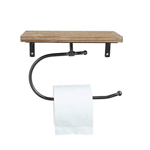 Creative Co-Op DA7857 Metal Wall Toilet Paper Holder with Wood Shelf
