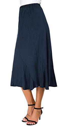 EXCHIC Women's Elegant Midi Skirt Ankle Length Maxi Skirt (S, Indigo Blue)
