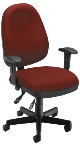 OFM Ergonomic Upholstered Multi-Adjustable ComfySeat Task Chair with Arms, Wine