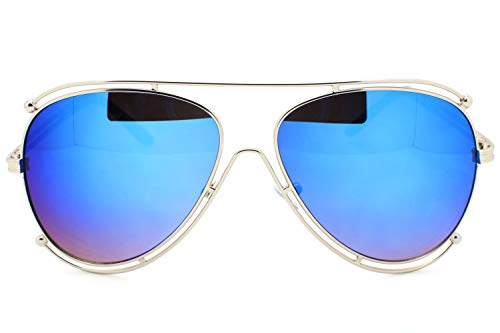 (Blue Mirrored Designer Inspired Double Wire Large Sunglasses Metal Frame Women)