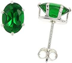 Sterling Silver Cubic Zirconia Oval Emerald Earrings Studs Green Color 1.5 carat/pair