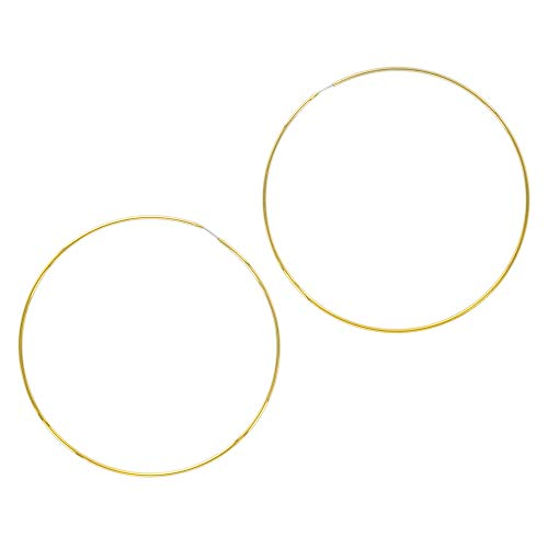 - And Lovely 14K Gold Plated Thin Endless Hoop Earrings - Lightweight Wire Hoops (Gold, 80)