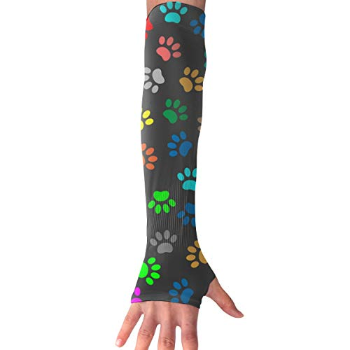 WAY.MAY Animal Paw Pattern Sun Protection Sleeve Long Arm Fingerless Gloves Outdoor Sleeve