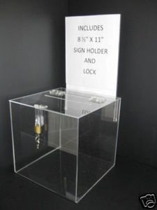 Marketing Holders Ballot Box or Suggestion Box with Lock 8'' x 8'' with Header, Clear Premium Acrylic by Marketing Holders