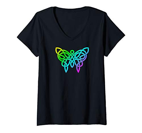 Womens Rainbow Colors Celtic Knotwork Butterfly V-Neck T-Shirt
