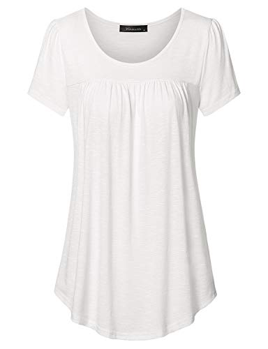 Vinmatto Women's Scoop Neck Pleated Blouse Top Tunic Shirt(L,White)