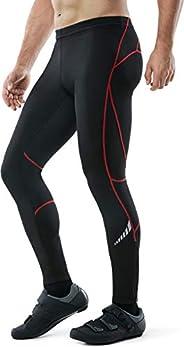 TSLA Men's Cycling Pants Running Tights Thermal Reflective Rear Zip Po
