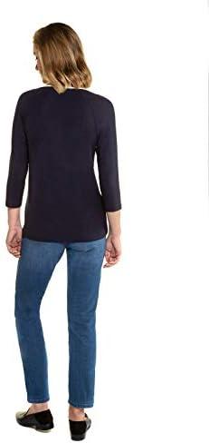 Gina LAURA damska koszulka, ozdobne tasiemki, dekolt w serek, rękawy 3/4 728448: Gina Laura: Odzież