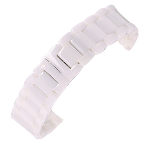 autulet 18mm smooth white Ceramic Watch Bands Quick release watch bracelets for men's casual ()