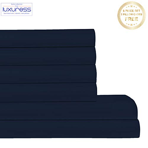 400tc 100% Cotton - Luxuress 400 Thread Count 100% Long Staple Soft Cotton SheetSet with Bonus Pillowcases,6 Piece Set, King Sheets,Smooth Soft Sateen Weave,Deep Pocket,Luxury Bedding,Navy Blue