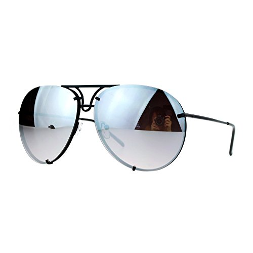 Oversized Round Aviator Sunglasses Metal Rims Black, Silver Mirror Lens