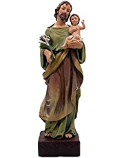 Large Catholic Saint Joseph Statue with Baby Christ Jesus, The Worker Figurine Tabletop Decoration, Standing Religious Decor for Home and Garden, 22 Inches