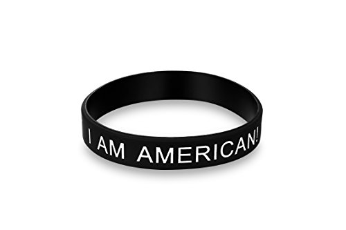 I AM AMERICAN - Bracelet - Unisize / unisex and allergy free - Make America Great Again - I LOVE USA Black Cosmos Limited Edition
