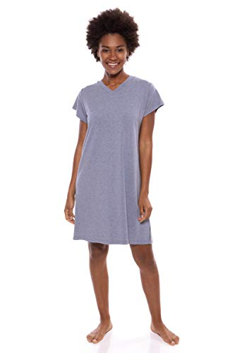 Women's Jersey V-Neck Sleep Shirt - Comfortable Tee Dress by Texere (Lexxie, Heather Atlantic, X-Large) Pajama PJ Dress Tee Shirt for Her TX-WB043-002-21U2-R-XL