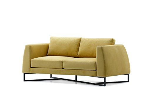 Bienal Triangle 2 (Two) Seater Sofa, Loveseat, Metal Legs with Black Coating (Istanbul-010), Leather