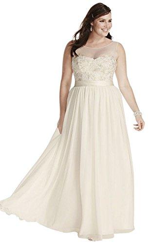 Chiffon Illusion Tank Plus Size Wedding Dress with Lace Style 9MK3747