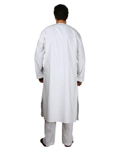Sommerkleider Casual weißer Baumwolle Kurta Pyjama Männer indischen Kostüm Brust 97 cm