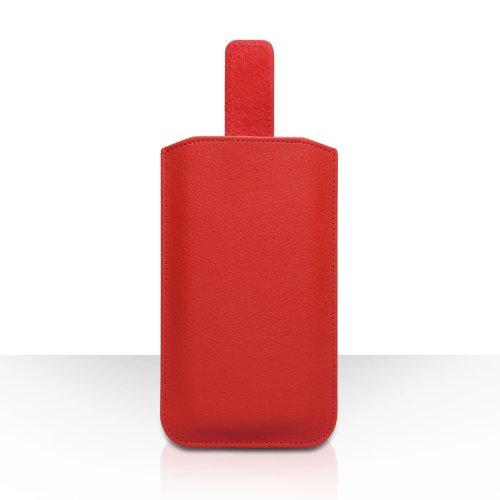 Coque iPhone 5C Etui Rouge Caseflex PU Cuir Pochette Housse Avec Tirez Onglet