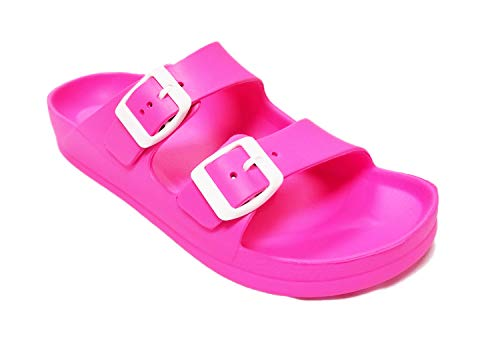 fa3f8599ae045 H2K Women's (2018 Model) EVA Slide Sandals with Adjustable Buckles (Neon  Pink, 5)