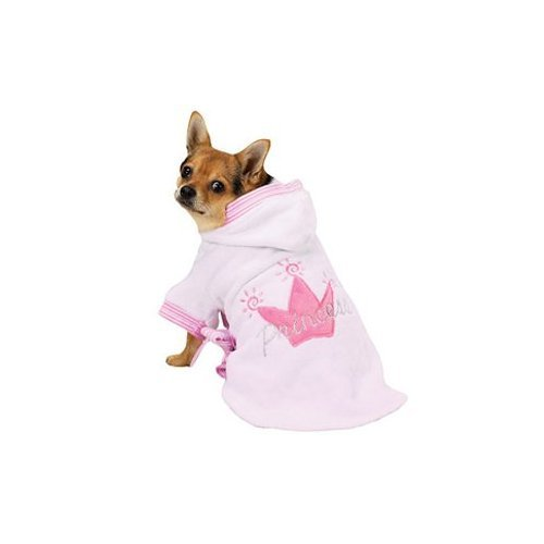 Zack and Zoey Pink Princess Royalty Robe Soft Terry Bathrobe for Dogs Small, My Pet Supplies