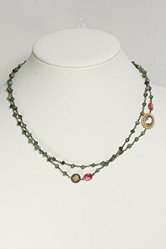 Unique Green Tourmaline Beaded Necklace with Pink Quartz Stones, Cubic Zircon and Flower Trinket