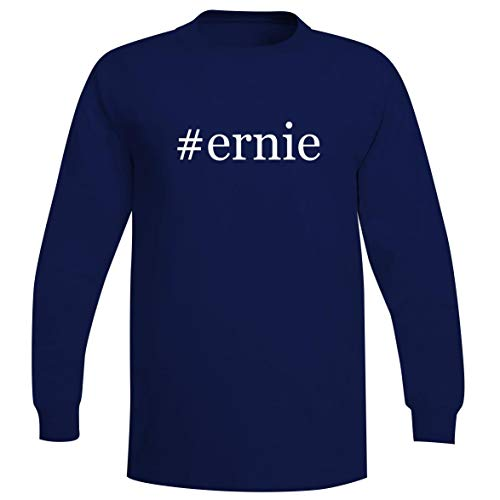 The Town Butler #Ernie - A Soft & Comfortable Hashtag Men's Long Sleeve T-Shirt, Blue, Large