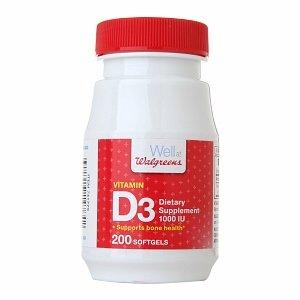 Walgreens Vitamin D3 1000 IU, Softgels 200 ea