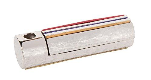 (Yair Emanuel Folding Travel Hanukkah Chanukah Menorah Hammered Metal Multicolor (HTM-1) )