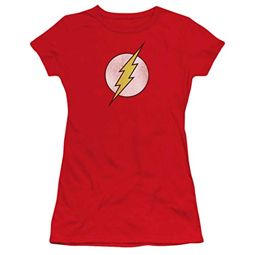 Popfunk Flash Logo Juniors T Shirt & Exclusive Stickers (Red,Medium) (Flash Shirts For Girls)