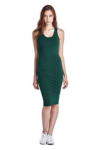 LaClef Women's Sleeveless Basic Racer Back Tank Midi Cotton Casual Dress (Medium, Hunter Green)