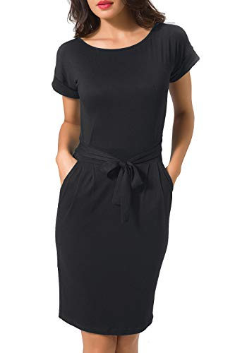 Chifave Women's Casual Short Sleeve Cotton Belted Pencil Midi Dress with Pockets (Black, XL)