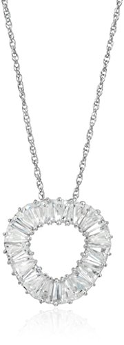 Rhodium Plated Sterling Silver Trapezoidal White Cubic Zirconia Open Round Triangle Pendant Necklace, 18""