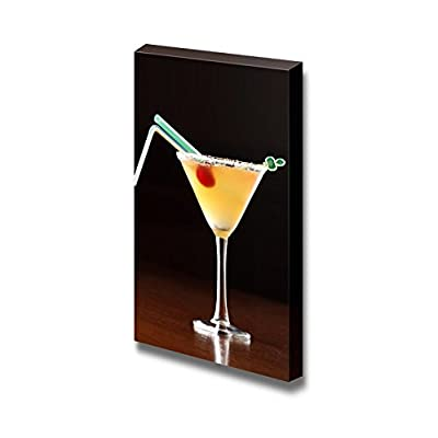 Canvas Prints Wall Art - Yellow Alcoholic Cocktail with 2 Straws Beverage/Wine Photograph | Modern Wall Decor/Home Decoration Stretched Gallery Canvas Wrap Giclee Print & Ready to Hang - 36